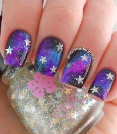 Pink Starry Sky Nail Design