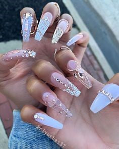 Rhinestone Stiletto Nail Art Design