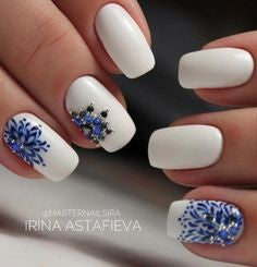 Blue Striped Rhinestones Nail Art Design