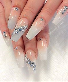 Rhinestones Coffin Nail Art Design