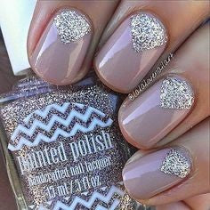 Triangle Rhinestones Nail Art Design