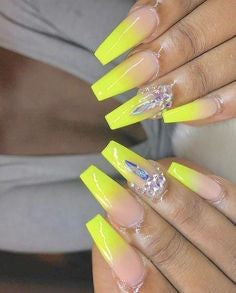 Yellow Rhinestones Nail Art Design