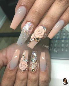Flower Rhinestones Nail Art Design