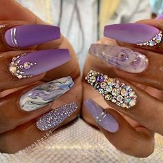 Purple Marble Rhinestones Nail Art Design