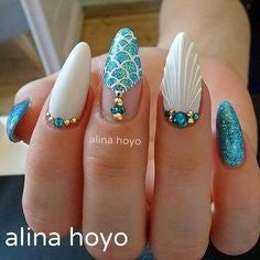 Shell Mermaid Nail Art Design