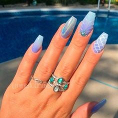 Holographic Mermaid Nail Art Design