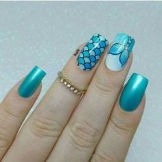 Mermaid Sticker Nail Art Design