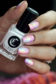 Pink Mermaid Nail Art Design