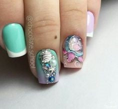 Rhinestone Mermaid Nail Art Design