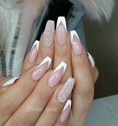 Glitter Coffin French Nails