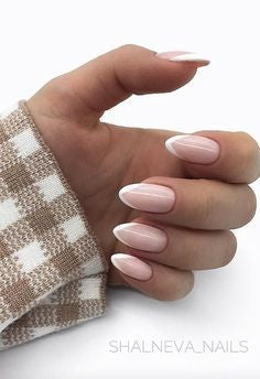 Gel French Pointed Nails
