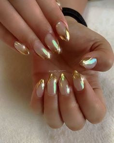 Golden Holographic French Nail Design