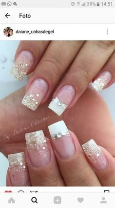 Golden Glitter French Nail Design