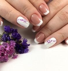 Simple Plant French Nail Design