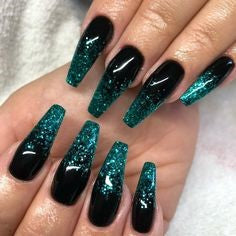 Black and Green Glitter Nail Design