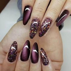 Cat Eye Glitter Nail Design