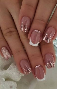 French Glitter Nail Design