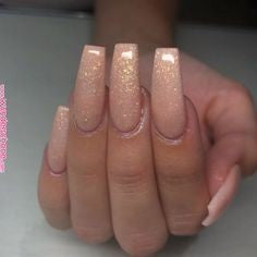 Coffin Glitter Nail Design