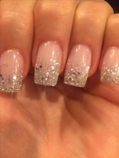 French Gel Glitter Nail Design