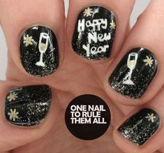 Letter Happy New Year Nail Design