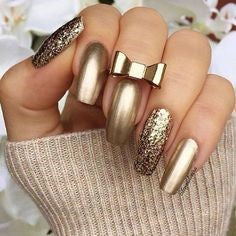 Bow Golden Metallic Nail Designs