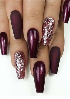Burgundy Metallic Nail Designs