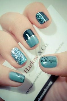 Half Metallic Nail Designs