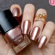 Rose Golden Metallic Nail Designs