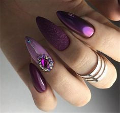 Rhinestone Metallic Nail Designs