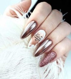 Coffin Metallic Nail Designs