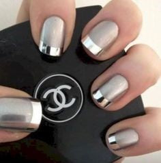 French Metallic Nail Designs