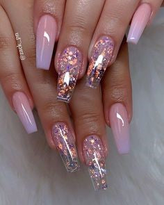 Transparent Glitter Nail Design
