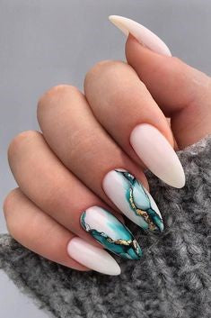 White and Green Marble Nail Design