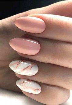 Pink Marble Nail Design
