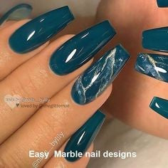 Turquoise Marble Nail Design