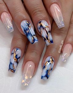 Gold Sequins Marble Nail Design