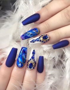 Blue Marble Nail Design