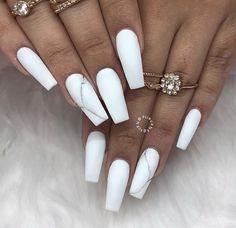 White Pink Marble Nail Design