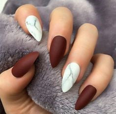 Matte Red Marble Nail Design