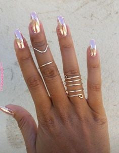 Golden Chrome Nails