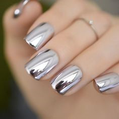 Silver Chrome Nails