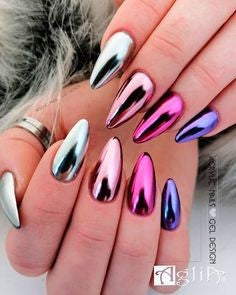Colorful Chrome Nails