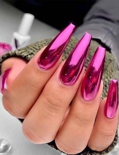 Coffin Chrome Nails