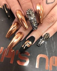 Rhinestone and Golden Chrome Nails