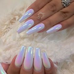 White Chrome Nails