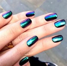 Green Chrome Nails