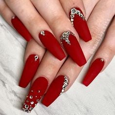 Rhinestone coffin with red nails