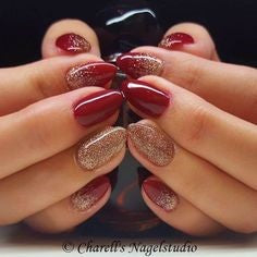 Glitter Gold and Red Nails