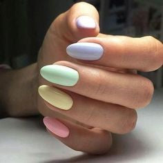 Nude Colorful Spring Nail Design