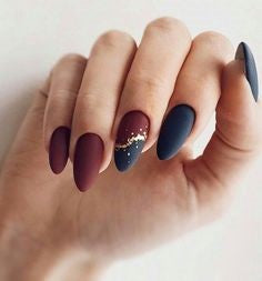 Dark Blue and Red Spring Nail Design